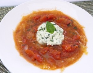 Lasagna Spaghetti Squash Soup with Ricotta Cheese